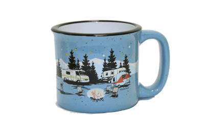 RV coffee mug motorhome at night in woods-min