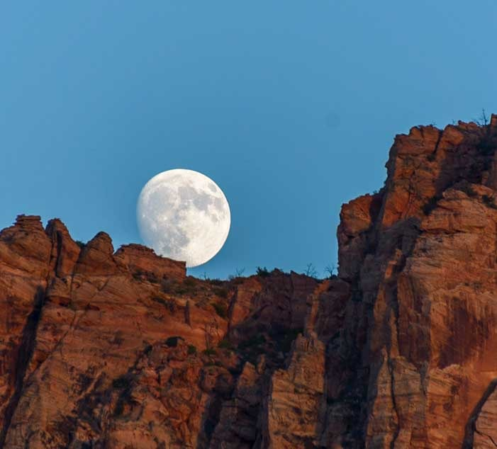 Full moon Zion National Park Utah RV trip-min