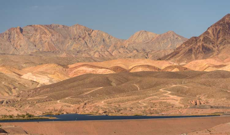 Colorful hills Lake Mead Nevada RV scenic drive-min