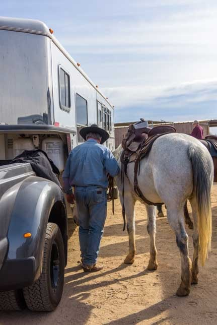 Cowboy walks horse back to horse trailer-min