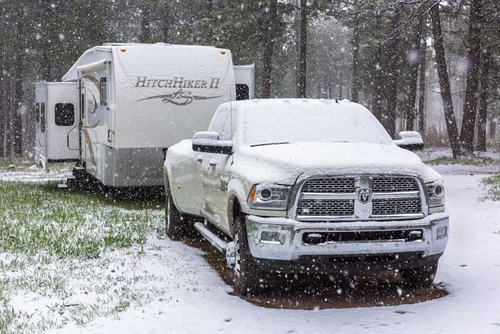 RVing in Cold Weather winter snow storms-min