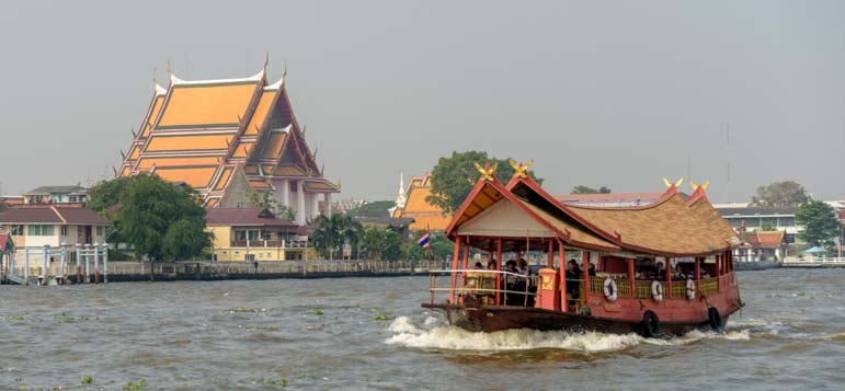 Boat on Chao Phraya River Bangkok Thailand copy-min