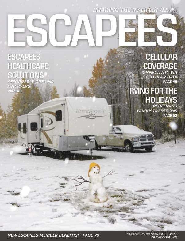 RVing in Winter Escapees RV Club Magazine Cover-min