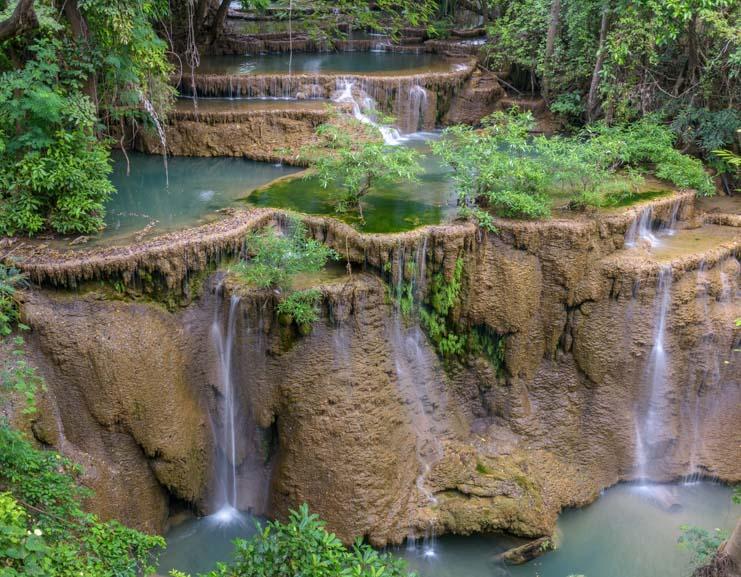 Huay Mae Khamin Waterfall Sri Nakarin Dam National Park Kanchanaburi Thailand copy-min