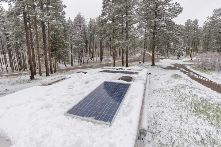 Clearing snow off RV solar panels-min