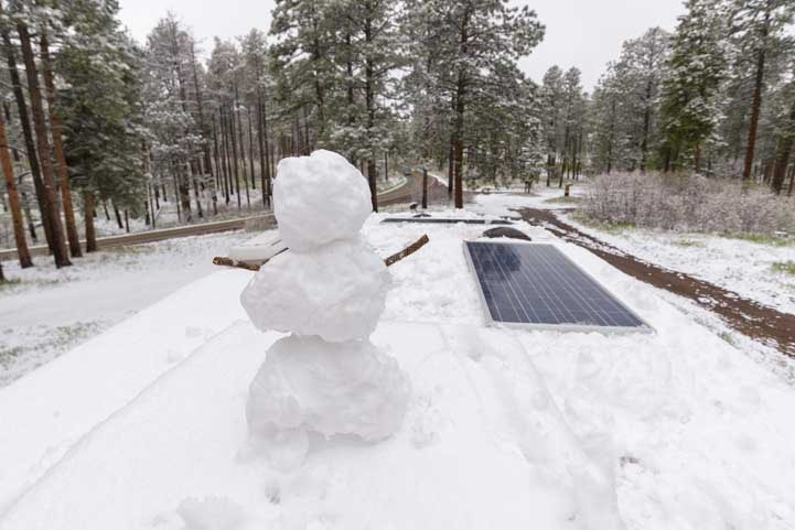 RV roof with solar panels and snowman after snowstorm-min