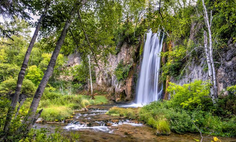 Spearfish Canyon waterfall South Dakota RV trip-min