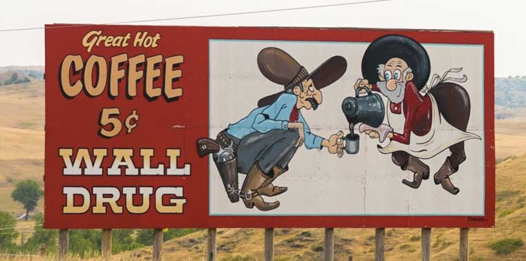 Wall Drug billboard on South Dakota RV trip-min