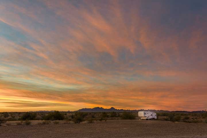 RV boondocking in the Arizona desert camping