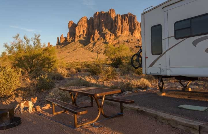 RV camping at Lost Dutchman State Park Arizona-min