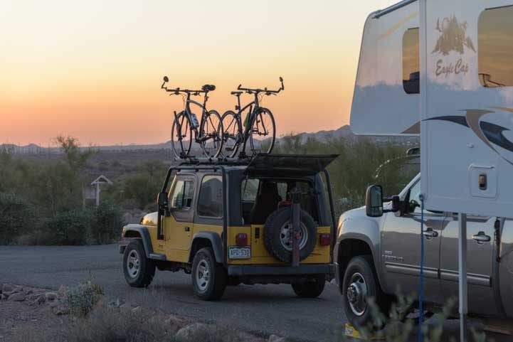 RV camping and mountain biking Lost Dutchman State Park Arizona-min