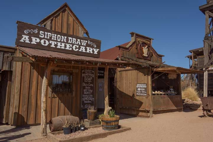 Goldfield Ghost Town apothecary and other antique buildings-min