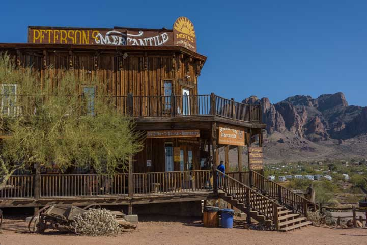Superstition mountains behind Goldfield Ghost Town on Arizona RV trip-min