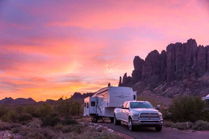 Sunrise RV camping at Lost Dutchman State Park Arizona-min
