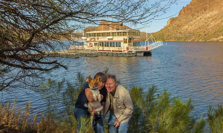 Dolly Steamboat Cruise with puppy Canyon Lake Arizona RV trip-min