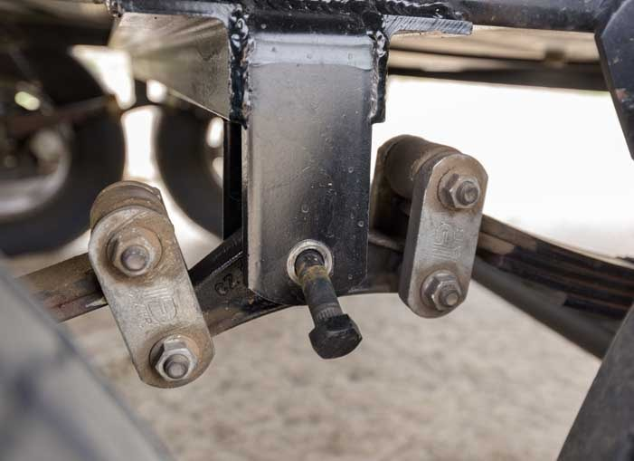 Bolt falling out of equalizer in fifth wheel trailer suspension-min