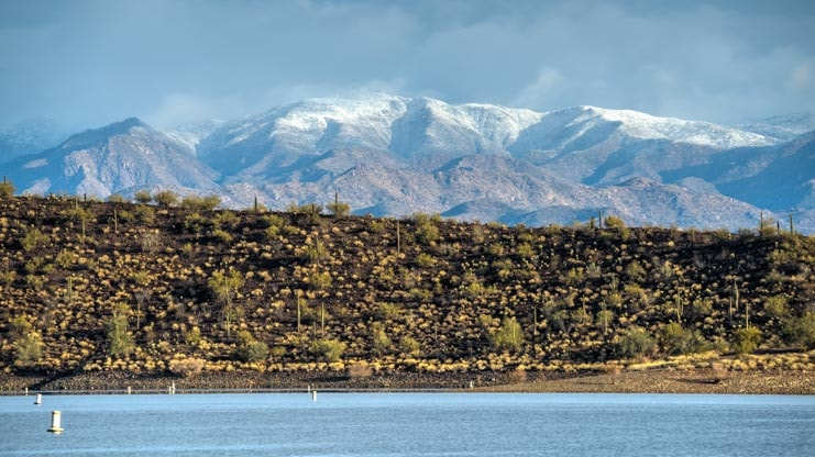 Snowcapped mountains Lake Pleasant Arizona-min