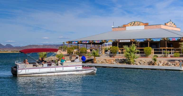 Party boat at dock River's Lodge Cantina Parker Arizona RV trip-min