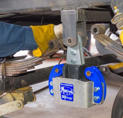 MorRyde SRE 4000 installation on fifth wheel trailer frame hanger-min