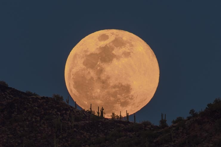 Full moon rising in Arizona Sonoran Desert-min