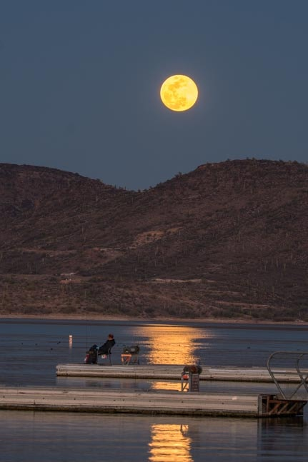 Fishing under full moon Lake Pleasant Arizona-min