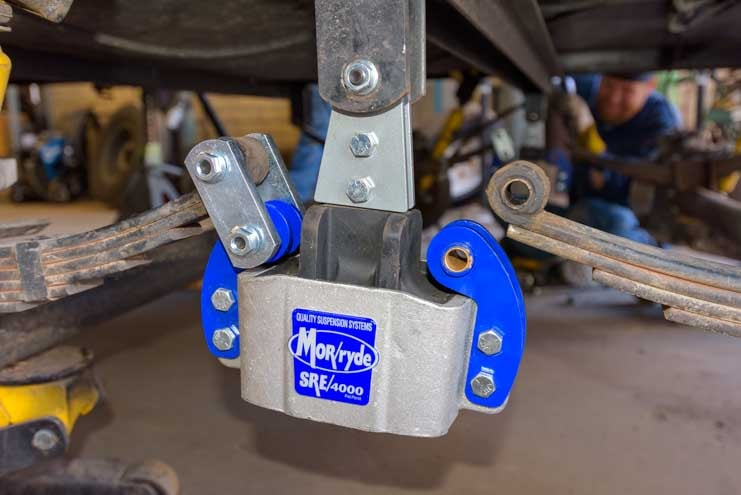 Leaf springs attached to Mor-Ryde SRE 4000 on fifth wheel trailer suspension-min