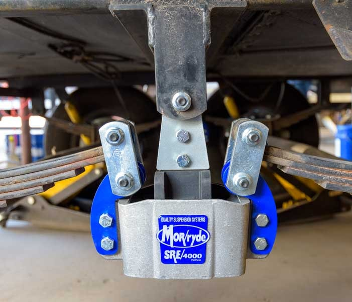 MorRyde SRE 4000 installed on fifth wheel trailer hanger and leaf spring suspension-min
