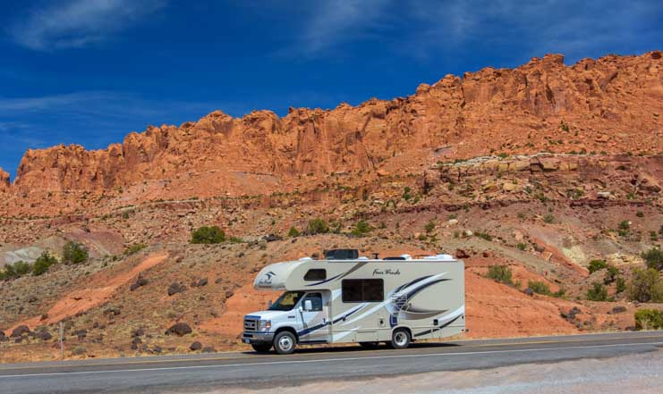 RV on Capitol Reef National Park Utah Scenic Byway 24 Scenic Drive-min