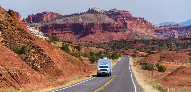 RV on Utah Route 24 Capitol Reef National Park Scenic Drive-min