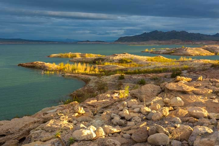 Golden hour Lake Mead Nevada back roads RV trip-min