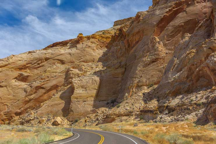 Sheer walls Capitol Reef National Park Utah Route Scenic Byway 24 RV truo