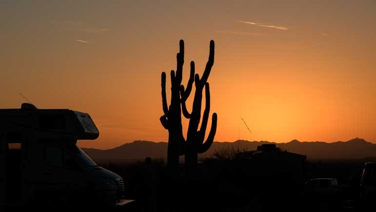 Sunset at Lost Dutchman State Park Campground in Arizona-min