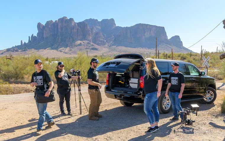 Camping World RVing is for Everyone Mark and Emily Isaac Aaron Media crew at Superstition Mountains-min