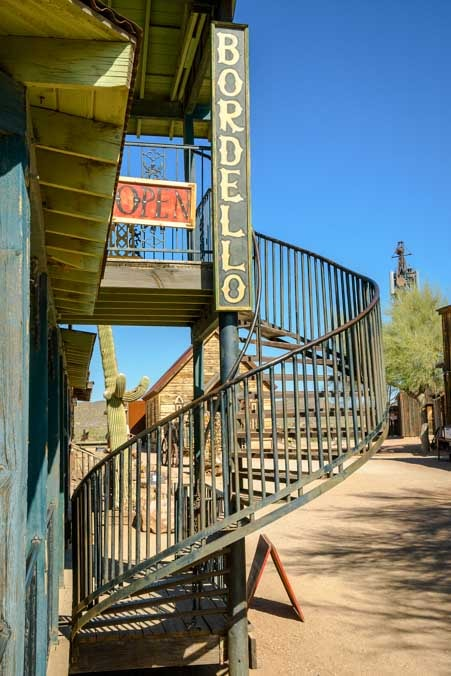 Bordello staircase Goldfield Ghost Town Camping World RV video shoot-min
