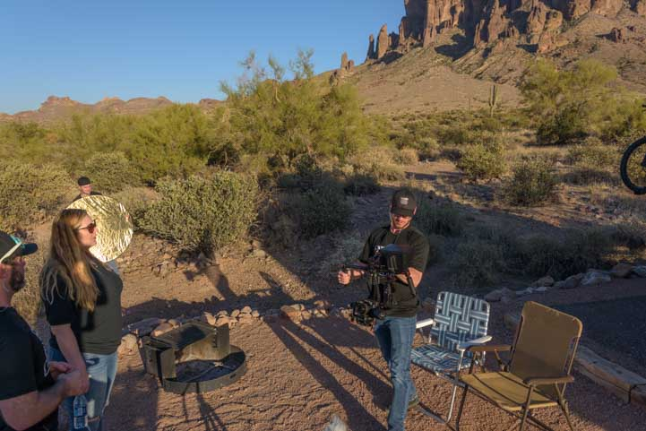 Set up for Camping World RVing is for Everyone video shoot at RV campsite in Lost Dutchman State Park Arizona-min