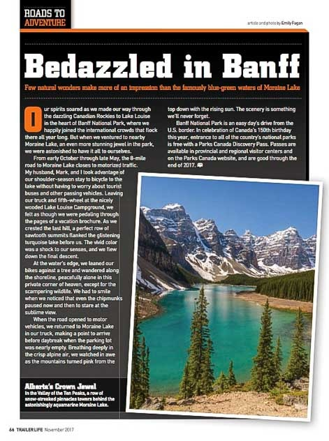 Trailer Life Magazine Roads to Adventure Bedazzled in Banff by Emily Fagan-min