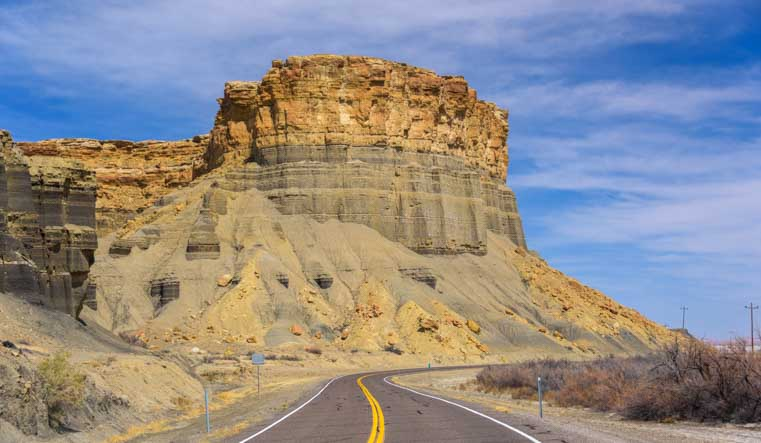 Towering rock formation Capitol Reef National Park Utah Scenic Byway 24-min