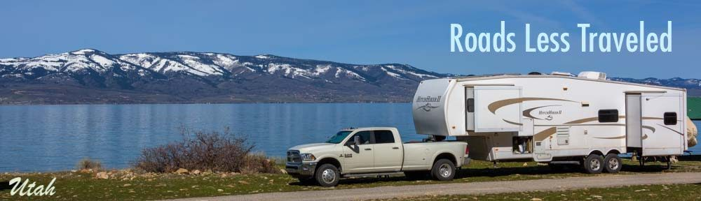 RV camping on a Utah lake