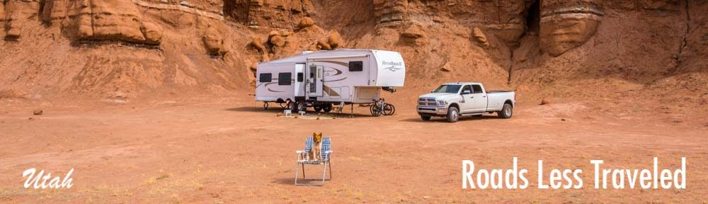 Utah RV camping trip with a dog in red rock country