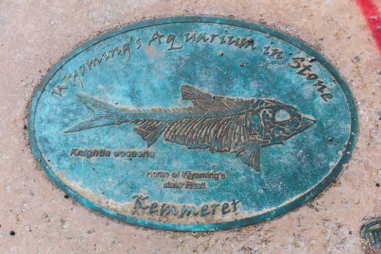 Sidewalk plaque for Fossil country in Kemmerer Wyoming-min