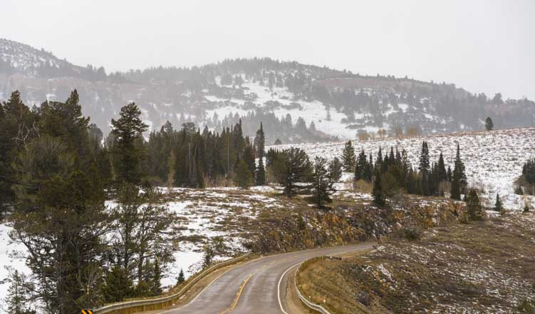 Logan Pass Utah with snow on RV trip-min