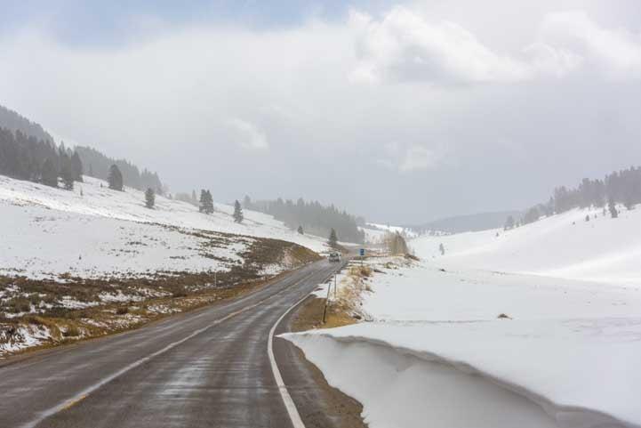 Snow on RV trip over Logan Pass Utah_-min