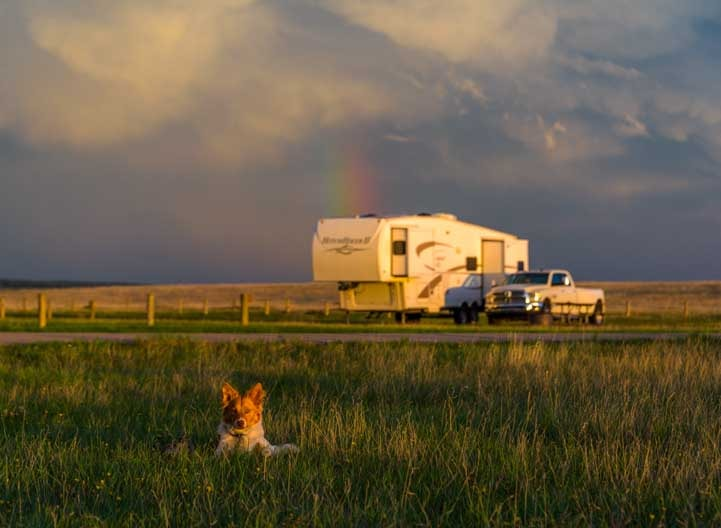 Rainbow and puppy with fifth wheel RV trailer at sunset-min