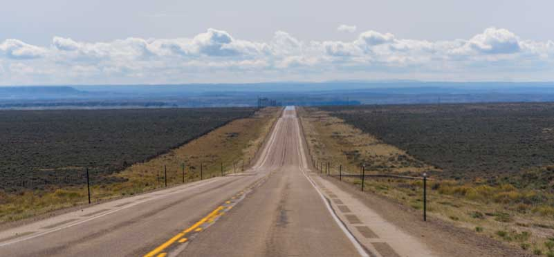 Open road RV trip in rural Wyoming-min