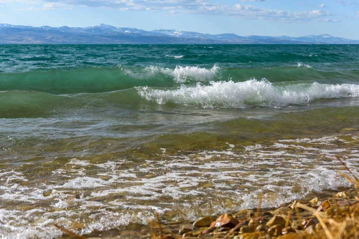 Rough waves Bear Lake Utah RV camping trip-min