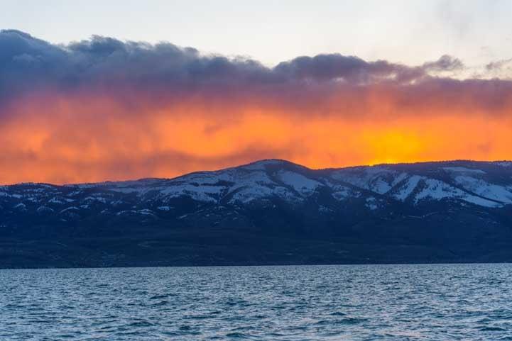 Sunset on RV camping trip to Bear Lake Utah-min