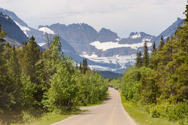 Approaching Many Glacier in Glacier National Park Montana-min