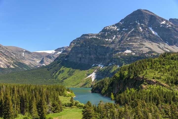 First views entering Many Glacier at Glacier National Park Montana-min