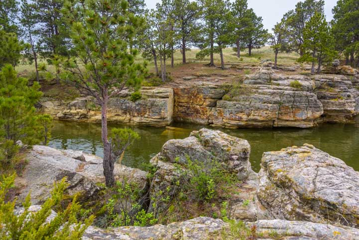 Rock cliffs at Keyhole State Park Wyoming RV trip-min