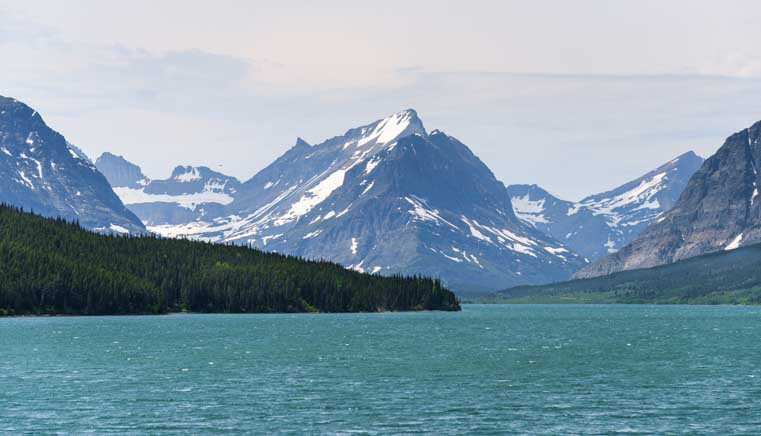 Mountains and Swiftcurrent Lake at Many Glacier in Glacier National Park Montana